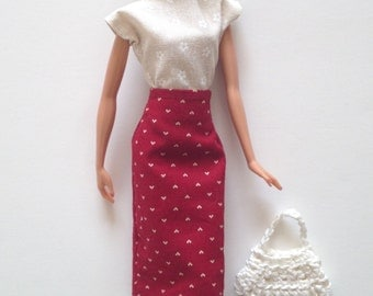 Handmade Barbie Clothes Pencil Skirt Top Handbag Designs by P D Reneau