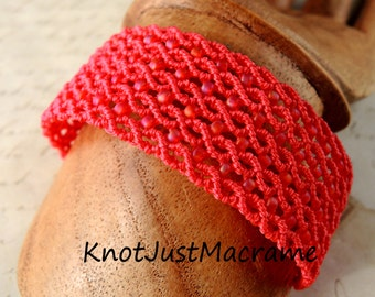 Red, Red, Red Micro Macrame Cuff Bracelet