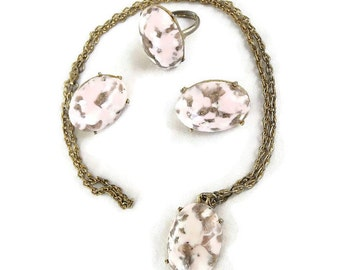 Vintage Pink & Blue Stone with Aventurine Pendant Necklace, Adjustable Ring and Earrings Demi Parure Set