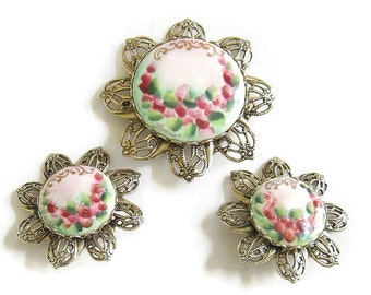 Vintage Handpainted and Artist signed Soft Pink, Green and Red Roses Floral and Filigree Brooch or Pin and clip Earrings Demi Parure Set