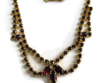 Red Rhinestone Choker Necklace Vintage