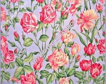 "2002 Kona Bay Victorian Floral Roses Cotton Fabric 1/2 Yard 18"" x 44"""
