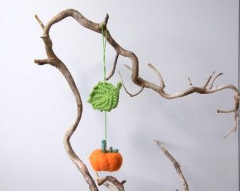 Felted Pumpkin and crochet leaf ornament autumn fall Weddings Halloween Thanksgiving decoration nursery decor handmade felt gift