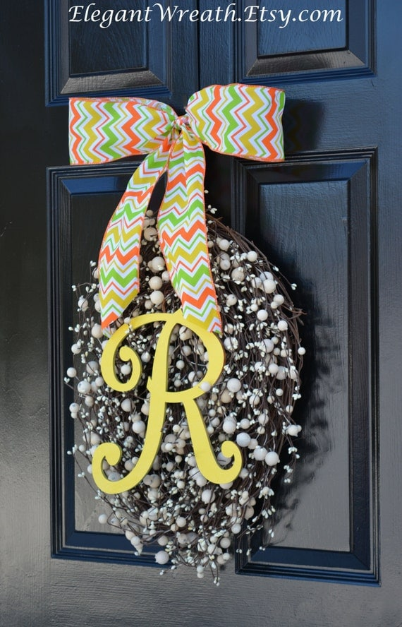 Monogram Egg Wreath- Easter Wreaths- Egg Easter Wreaths  Easter Decor- Monogram Wreath- Spring Wreath