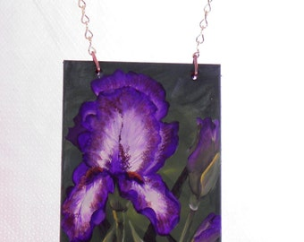 Purple Iris Welcome Sign, Hand Made and Hand Painted