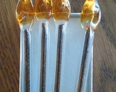 Glass Coffee Swizzle Sticks Handmade with Coffee Inclusions