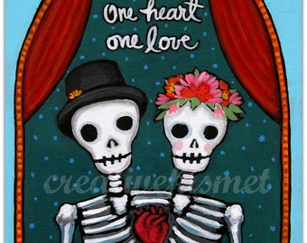 One Heart, One Love - Day of the Dead - Dia de los Muertos couple. Art print by Regina Lord
