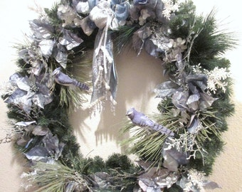 X Large Blue Jay Christmas Wreath or home decoration in Blue and Sage Green with elaborate Victorian beaded fringe and Fancy Trimmed bow