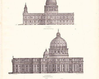 1894 Artichitecture Church Print - Vintage Antique Art Illustration History Geography Great for Framing 100 Years Old