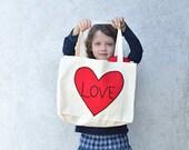 Organic Tote Bag- Red Heart Applique Bag- Eco Friendly Shoulder Bag, Canvas Book Bag, Market Bag- Valentine's Day