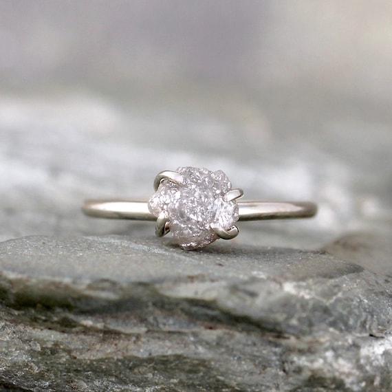 Raw Uncut Rough Diamond Engagement Ring 14K White Gold