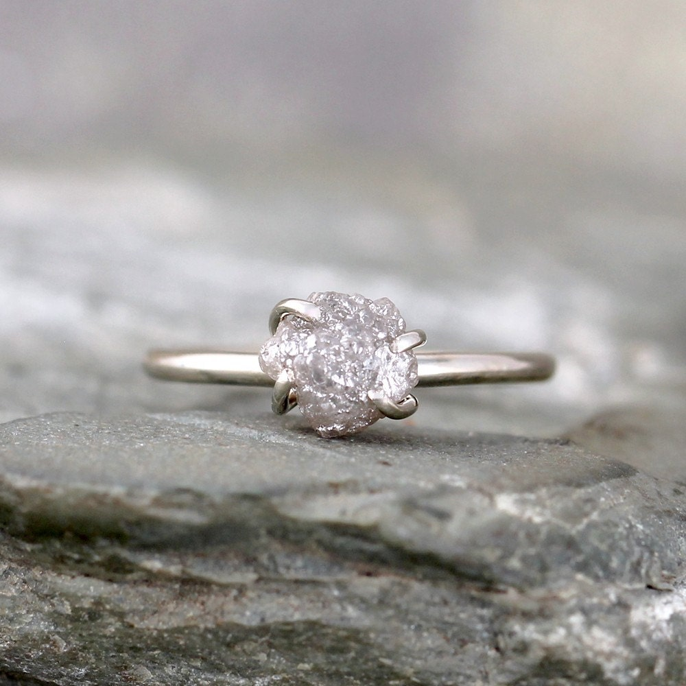 Raw Uncut Rough Diamond Engagement Ring 14K White Gold