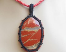 Red jasper pendant - macrame pendant - gemstone pendant - oval pendant - gift ideas