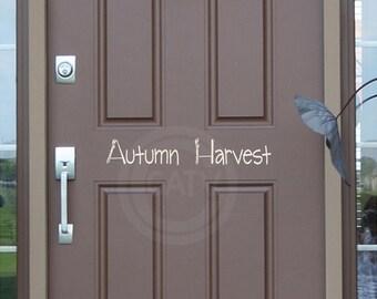 Autumn Harvest  vinyl lettering wall decal sticker diy door decor