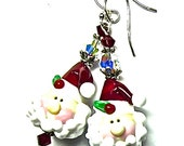 MADE TO ORDER  Santa Claus Earrings Christmas Earrings Santa Earrings Lampwork Earrings Holiday Earrings Beaded Earrings Artisan Earrings