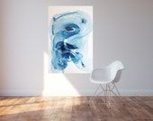 Large abstract painting, Wave By Julie Tillman. modern art. large abstract painting art home decor blue. wall art. home staging art.