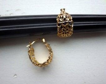 Latce Like Sterilng/Gold Filigree Vermail Earrings