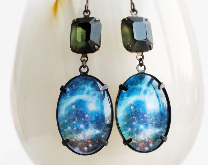 Cosmic Earrings Blue Grey Galaxy Glass Cabochon Hubble Space Image Cosmic Statement Jewelry