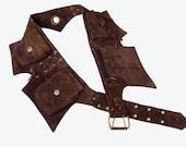 Leather Utility Belt | Dark Brown Suede, 5 pockets | travel, burning man, festival