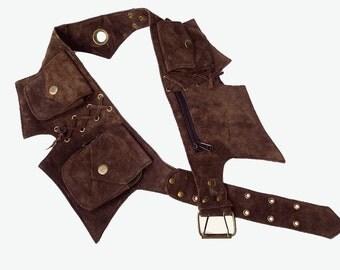 Leather Utility Belt | Dark Brown Suede, 5 pockets | travel, cosplay, festival