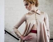Frances Flared Long Sleeve Nude Silk Shirt