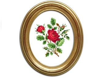 A red, red rose - Cross stitch pattern PDF. Instant download