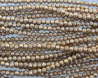 3mm Faceted Matte Metallic Gold Vintage Cut Firepolish Czech Glass Beads - Qty 50 (BW183)