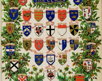 Clan Coat of Arms Shields -  Scottish Highlander ~ Traditional Tartan and Arms ~ ca 1845 Giclee print