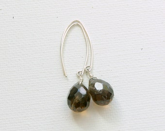 Smoky Quartz Earrings. Solid 925 Sterling Silver with Brown, Faceted, Briolettes