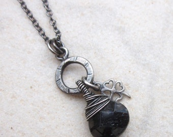 Black rutilated quartz necklace, briolette necklace, four leaf clover charm necklace, dainty oxidized sterling silver necklace, minimalist