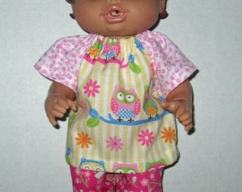 Corolle Tidoo, Corolle Calin, Doll Clothes,  Baby Alive, All Gone,  12 or 13 inch Doll Clothes, Owls Top and Short Set, Yellow and Pinks