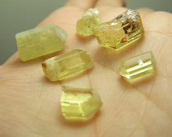 Yellow APatite crystal - by the gram - natural raw rough- wire wrap stones - bright yellow - terminated and non  -  specimens bulk crystals