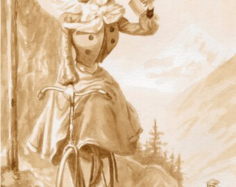 coffee art,Vintage Mountain Biking, painted using only coffee, bicycle, espresso