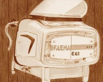 coffee art, 1961 Faema Espresso Machine, painted using only coffee, 1960s, machine, coffee shop, Faema, espresso