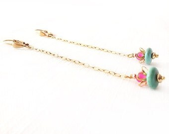 Gold Dangle Earrings - Chalcedony, Magnesite - Gold, Pink, Turquoise, Cream - The Bohemian: Lotus Stiletto