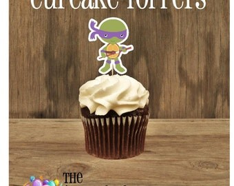 TMNT Friends- Set of 12 Purple Ninja Turtle Cupcake Toppers by The Birthday House