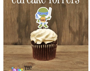 TMNT Friends- Set of 12 Blue Ninja Turtle Cupcake Toppers by The Birthday House