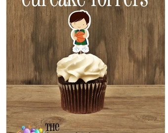 Basketball Friends Party - Set of 12 Basketball Player Cupcake Toppers by The Birthday House