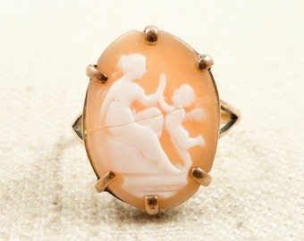 Size 5.75 Antique Victorian 10K Gold Cupid and Psyche Shell Cameo Ring