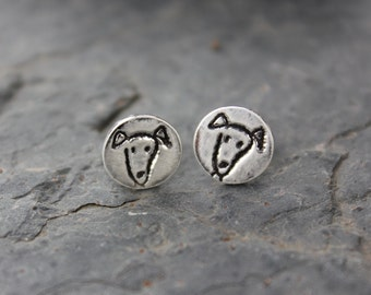 Tiny Puppy Dog Post Earrings - Handmade fine silver charms on surgical steel posts- free shipping in USA
