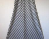 Vintage Chevron Black Silver White A lined Maxi Skirt