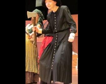 Black Witch Floor Length Dress Vintage 80's  Victorian Edwardian Maid Mourning Dress