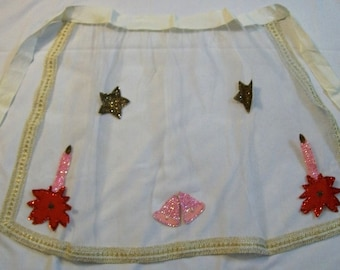 Christmas Apron, Vintage Apron, Vintage Christmas, Vintage Net Apron with
