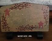 Primitive Hand Painted, Hand Detailed Napkin Holder--Reclaimed--FAAP OFG HaFAIR AhC
