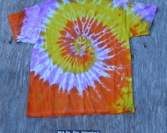 Light Pink, Orange and Yellow Spiral Tie Dye T-Shirt (Jerzees Size XL) (One of a Kind)