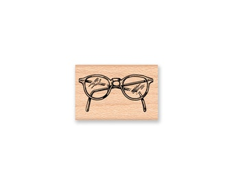 READING GLASSES- Library Glasses-Nerd Glasses-rubber stamp-wood mounted(MCRS 30-08)