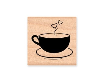 COFFEE CUPS Rubber Stamp~two styles~hearts or swirls~cup or mug~tea cup~hot cocoa~hearts love~ Wood Mounted Rubber Stamp(48-20H)(48-21S)