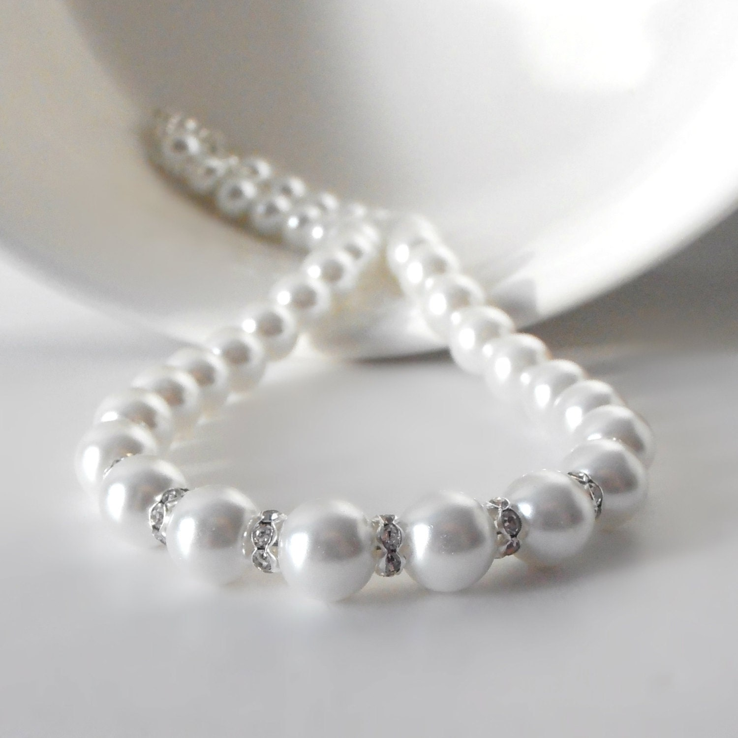 White Pearl Necklace Pearl Wedding Jewelry Faux Pearl Strand