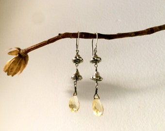 Silver Bell Flowers with Faceted Citrine Briolette Drop Dangle Earrings