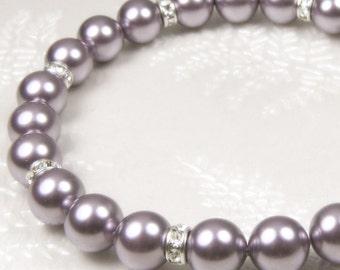 Purple Pearl Bracelet, Lavender Wedding Jewelry, Purple Bridesmaids Bracelet Bridal Jewelry, Bridesmaid Gift Swarovski Pearl Sterling Silver
